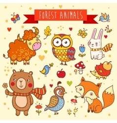 set of wild animals in the forest vector image