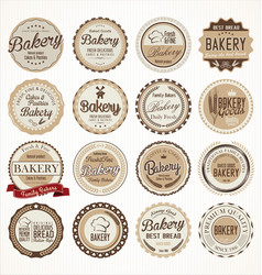 Set vintage bakery labels vector