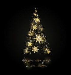 Shining christmas tree glow dots and snowflakes vector