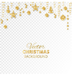 Sparkling christmas glitter ornaments golden vector