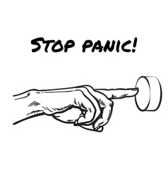 The hand presses the stop panic button vector
