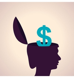 Thinking concept-Human head with dollar symbol vector image