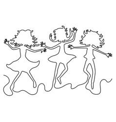 Three girlfriends in a jump vector
