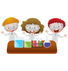 Three kids in science lab vector