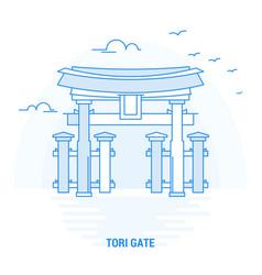 Tori gate blue landmark creative background and vector