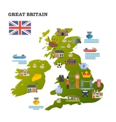 United Kingdom travel map with landmark icons vector