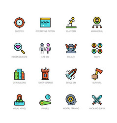 Video game genres icons set in filled outline vector
