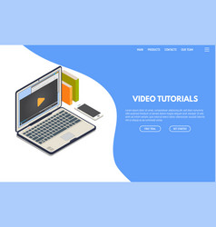 video tutorials isometric banner vector image