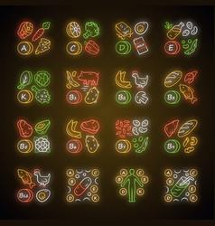 Vitamins neon light icons set a c d e k b natural vector