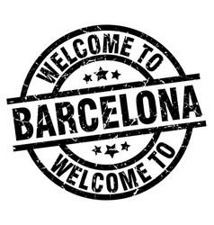 Welcome to barcelona black stamp vector