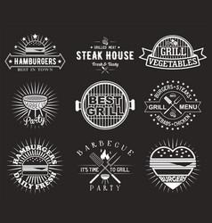 white bbq grill logo label badge emblem set vector image