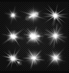 White burst rays glowing light stars vector