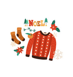 winter clothes flat warm vector image