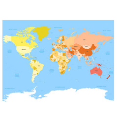 world map atlas colored political map with blue vector image