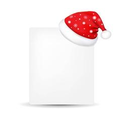 Xmas Blank Gift Tag With Santa Claus Cap vector image