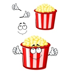 Cartoon popcorn character in striped bucket vector image vector image