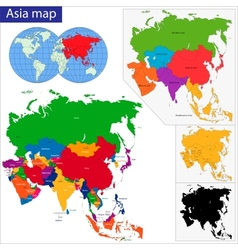 Colorful asia map vector