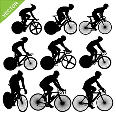 Cycling silhouettes vector image vector image