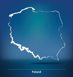 Doodle Map of Poland vector image