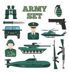 Flat army icon set vector