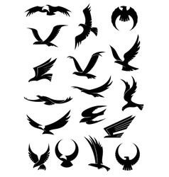 Flying eagle falcon and hawk icons vector image vector image