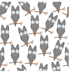 seamless pattern of owls on a branch for kids vector image