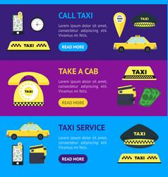 taxi transportation service banner horizontal set vector image vector image