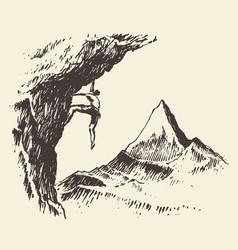 alpinist mountain peak drawn sketch vector image vector image