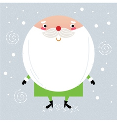 Cute green Santa with red nose isolated on white vector image vector image