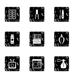 Face care icons set grunge style vector