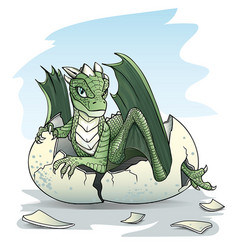 Green baby dragon piping from an egg vector