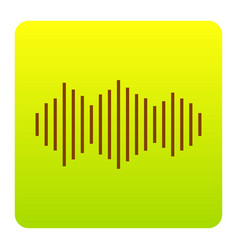 sound waves icon brown icon at green vector image