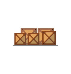 wooden boxes on pallet icon vector image vector image