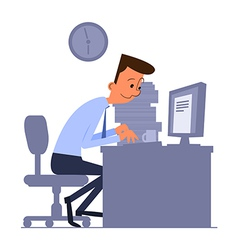 Cartoon office worker typing on computer vector image vector image