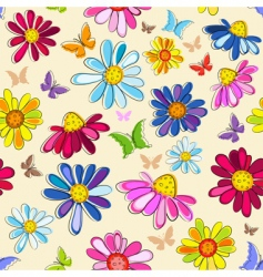 effortless pink floral pattern vector image vector image