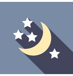 Half moon and stars icon flat style vector