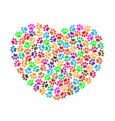 heart of colorful paw prints vector image vector image