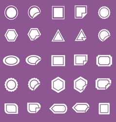 Label icons on violet background vector image vector image