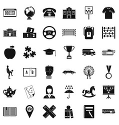 school icons set simple style vector image vector image
