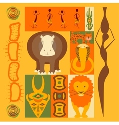 set of African animals elements vector image vector image