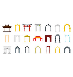 arch icon set flat style vector image