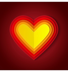 Colorful red and orange paper layers heart shape vector image vector image