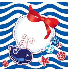 Funny Card with whale buttons bow vector image