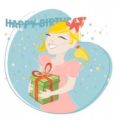 girl celebrating birthday vector image