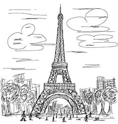 hand drawn of eifel tower Paris France tourist vector image vector image