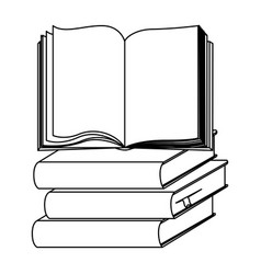 Silhouette set stack school books with open book vector