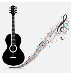 traditional guitar treble clef notes vector image