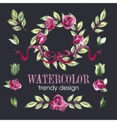 Watercolor Floral Set of Design Elements vector image