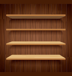 wood bookshelves on brown wood wall background vector image