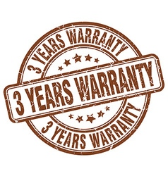 3 years warranty brown grunge round vintage rubber vector